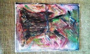 Malba na platno - akvarel - ,,Horsky vodopad´´